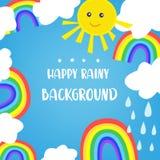 Regenbogenhintergrund für die Kinder, mit Sonne und Wolken Nettes Design, Vektorillustration Stockfoto