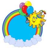 Regenbogenkreis mit Partysonne Stockfoto