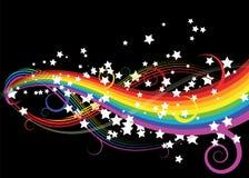 Regenbogenkurven mit Sternen Stockbilder