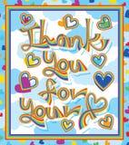 Regenbogenlinie danken Ihnen für Ihren Liebesrahmen Stockbild