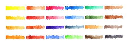 Regenbogenpaletten-Stellenhintergrund der Aquarellstreifenbürste bunter Lizenzfreies Stockfoto