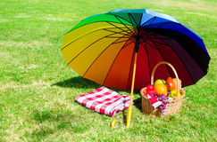 Regenbogenregenschirm und Picknickkorb Stockfotos