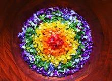 Regenbogensalat mit allen Farben stockbild
