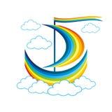 Regenbogensegelboot schwimmt in die Wolken Stockfotografie