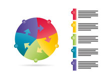 Regenbogenspektrum färbte fünf mit Seiten versehene Vektorgraphikschablone der Pfeilpuzzlespieldarstellung infographic mit erläut Stockfoto