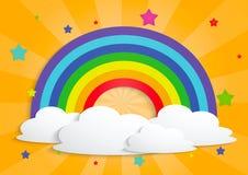 Regenbogenstern und Wolkenhintergrund Stockbilder