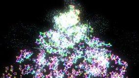 Regenbogensternfallen Heller Stern des Scheins mehrfarben Abstraktes Regenbogenmuster Schwarzer Hintergrund vektor abbildung