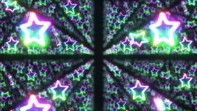 Regenbogensternfallen Heller Stern des Scheins mehrfarben Abstraktes Regenbogenmuster Schwarzer Hintergrund Schleifenanimation lizenzfreie abbildung