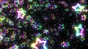 Regenbogensternfallen Heller Stern des Scheins mehrfarben Abstraktes Regenbogenmuster Schwarzer Hintergrund Schleifenanimation stock abbildung