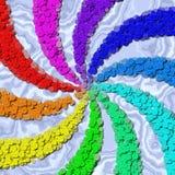 Regenbogenstrudelnähender Knöpfe erzeugter Marmorhintergrund Stockfoto