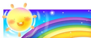 Regenboog & zon stock illustratie