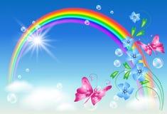 Regenboog in de hemel stock illustratie