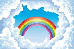 Regenboog in de hemel met wolken. royalty-vrije illustratie