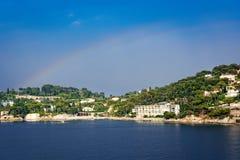 Regenboog in de hemel in Nice, Frankrijk Stock Fotografie