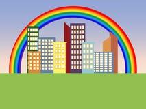 Regenboog in de stad Royalty-vrije Stock Foto