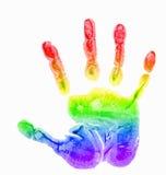 Regenboog, de waterverf van kinderen handprint Stock Foto
