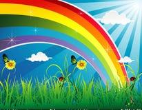 Regenboog in een landschapsvector Stock Foto