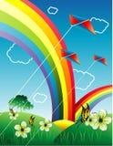 Regenboog in een landschapsvector Stock Afbeeldingen