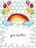 Regenboog en ballons het begroeten stock illustratie