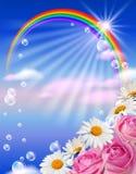 Regenboog en bloemen stock illustratie