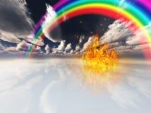 Regenboog en brand in surreal ruimte Stock Afbeeldingen