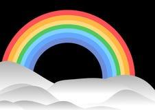 Regenboog en heuvels stock illustratie