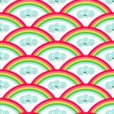 Regenboog en kawaiistijl naadloos patroon stock illustratie