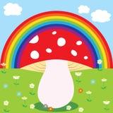 Regenboog en paddestoel Stock Fotografie