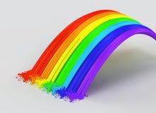 Regenboog en plonsen die van verf wordt gemaakt. Royalty-vrije Stock Foto's