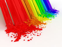 Regenboog en plonsen die van verf wordt gemaakt. Stock Afbeeldingen