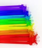 Regenboog en plonsen die van verf wordt gemaakt. Stock Foto's