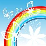 Regenboog en vlinders royalty-vrije illustratie