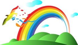 Regenboog en vogel Stock Afbeelding