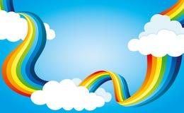 Regenboog en wolken vector illustratie