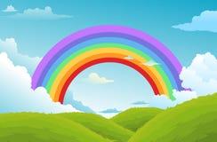 Regenboog en wolken in de hemel vector illustratie