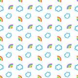Regenboog en Wolken Naadloos Patroon stock illustratie