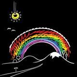 Regenboog en zon Stock Afbeeldingen