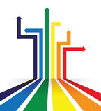 Regenboog gekleurde het perspectiefachtergrond van de pijllijn Stock Fotografie