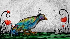Regenboog gekleurde vogel in tuin van harten royalty-vrije illustratie