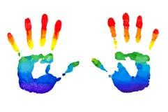 Regenboog geschilderde handen Stock Foto's