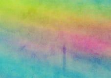 Regenboog Geschilderde het Canvasachtergrond van de Waterverfwas stock illustratie