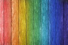 Regenboog Houten Achtergrond Stock Foto's