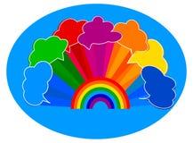 Regenboog met clounds Stock Foto's
