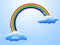 Regenboog met clounds Stock Afbeeldingen