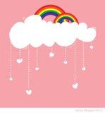 Regenboog met wolk en regen van liefdeharten Stock Foto