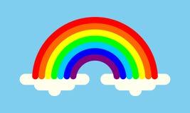 Regenboog met wolken kleurrijk symbool royalty-vrije illustratie
