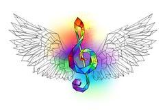 Regenboog muzikale sleutel met vleugels vector illustratie