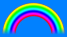 Regenboog op hemel met alpha- steen die, naadloze lijn neer verschuiven stock footage
