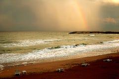 Regenboog op strand Royalty-vrije Stock Foto's