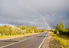Regenboog op weg Royalty-vrije Stock Foto